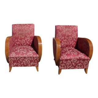 Circa 1940s French Art Deco Speed Armchairs - A Pair