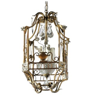 French Maison Baguès Vintage Gilt Metal and Crystal Four-Light Lantern