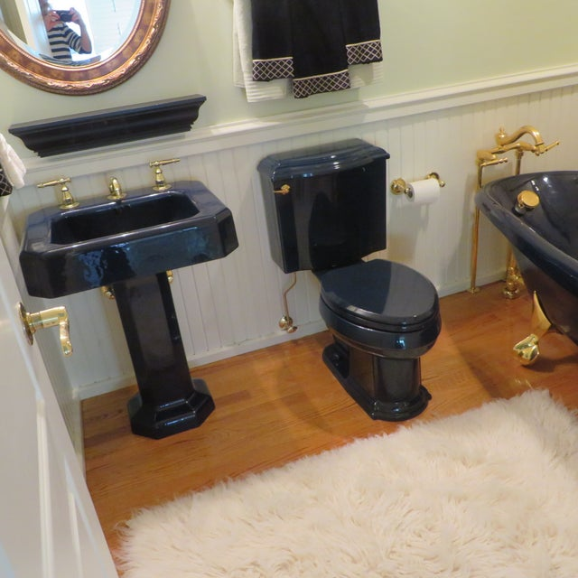 Navy & Brass Kohler Birthday Bathtub - Image 4 of 6