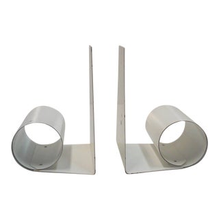 Modernist White Scroll Bookends - A Pair
