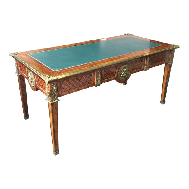 Vintage Green Top Wooden Desk - Image 1 of 6