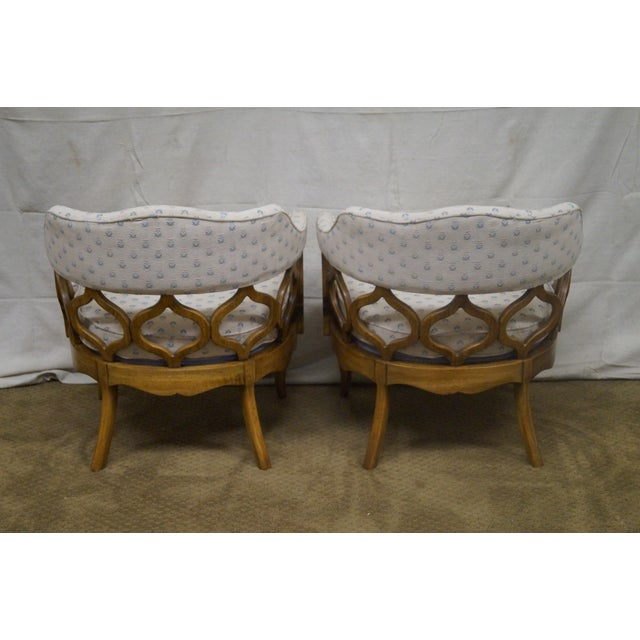 Walnut Barrel Back Club Lounge Chairs - A Pair - Image 4 of 10