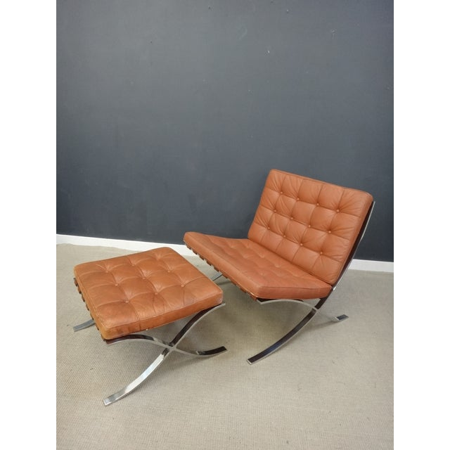Image of MCM Leather Barcelona Chair with Ottoman Set