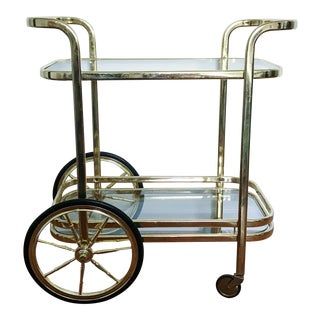 Vintage Milo Baughman Style Brass Bar Cart
