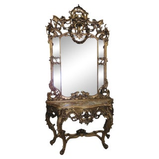 Italian Style Figural Gilt Carved & Marble Console &Mirror