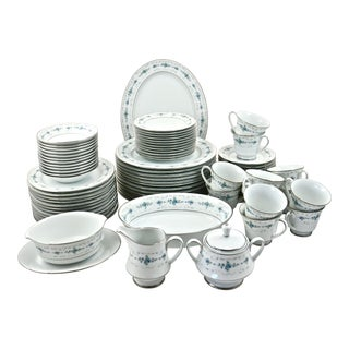 Noritake Silver & Blue Floral Dinner Service- 77 PIeces
