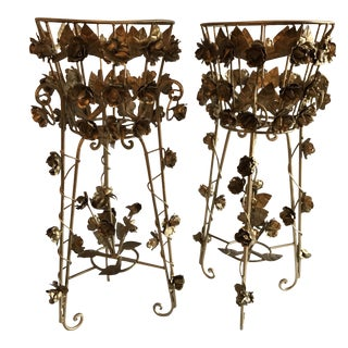 French Gilded Cast Iron Jardinières - A Pair