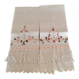 Pink Floral Embroidery Linen Tea Towels- Set of 2