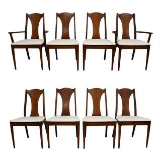 Mid-Century Walnut & White Vinyl Dining Chairs- Set of 8