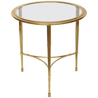 French Brass Glass Top Side Table