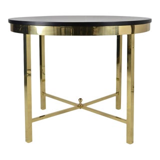 Modernist Brass Center Table with Black Lacquered Top