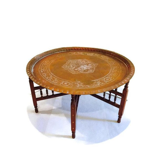 Antique Round Copper Coffee Table: Vintage Moroccan Copper Tray Coffee Table