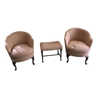 Peach Barrel Club Chairs & Stool - Set of 3