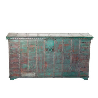 Vintage Gujrat Rustic Green Wood & Iron Trunk