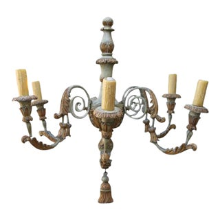 Six-Light Italian Carved Wood & Metal Chandelier