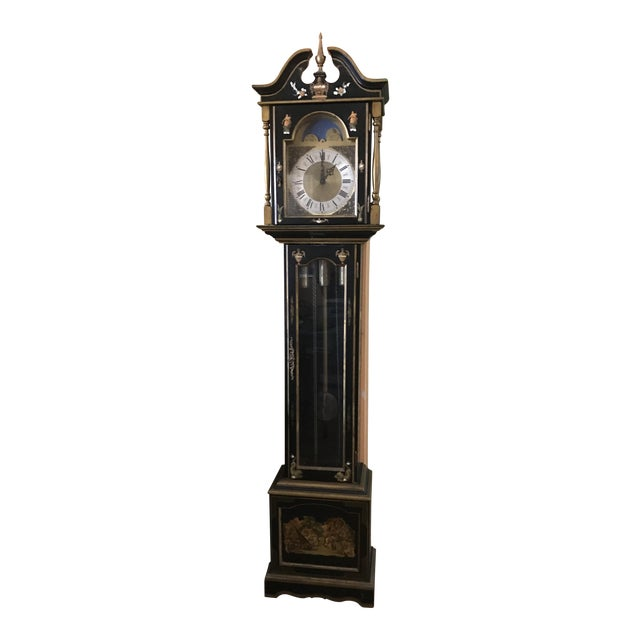 Asian Black Grandfather Clock Hand Painted With Pearl Inlay - Image 1 of 11