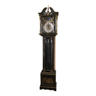 Asian Black Grandfather Clock Hand Painted With Pearl Inlay