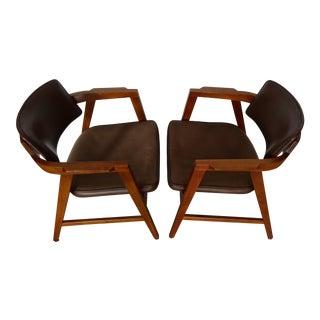 Walnut Gunlocke Chairs - A Pair