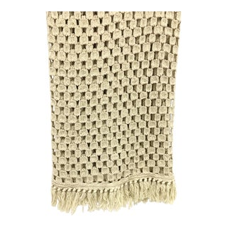 Cream Colored Knitted Afghan Throw