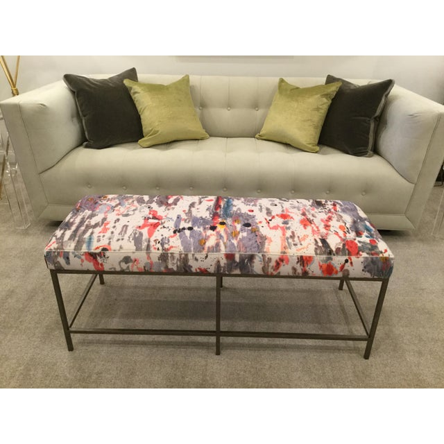 Custom Upholstered Bench in Holly Hunt Modern Fabric With Metal Frame - Image 5 of 5