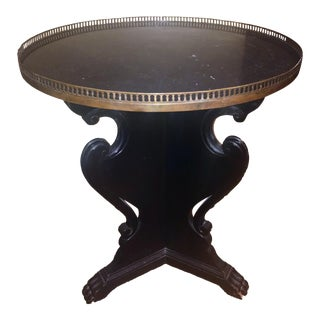 Nero Marquina Marble & Wood End Table
