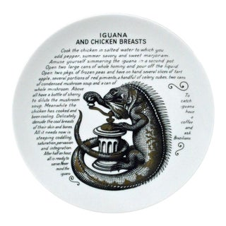 Piero Fornasetti Fleming Joffe Recipe Plate, Iguana and Chicken Breasts.