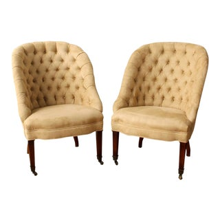 Buttoned Back Slipper Chairs - A Pair