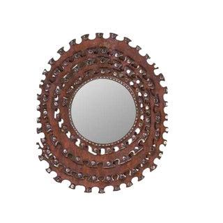 Mid-Century Rustic Circular Gear Mirror