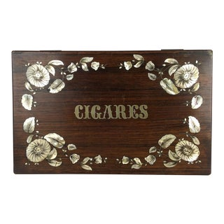 Antique English Cigar Box Rosewood With M O P and Silver Inlaid