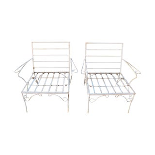 White Mid-Century Patio Chairs - A Pair