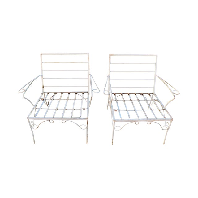 White Mid-Century Patio Chairs - A Pair - Image 1 of 3