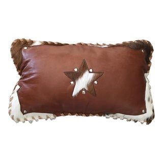 Handmade Leather & Cowhide Lumbar Texas Pillow