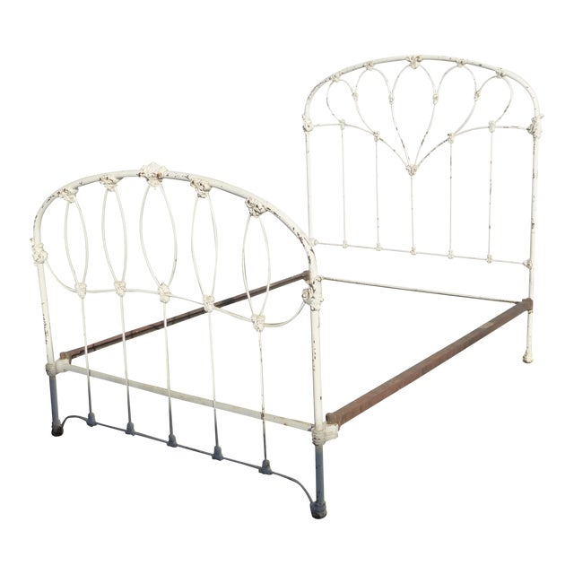 Antique French Country Full Iron Bed Frame Farmhouse Chic Headboard - Image 1 of 11