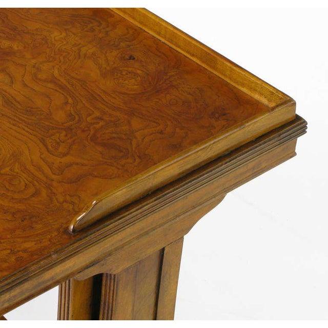 Baker Art Nouveau Style Burled Walnut Nesting Tables - Image 8 of 10