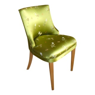 1940s Vintage Emerald Green Barrel Back Chair