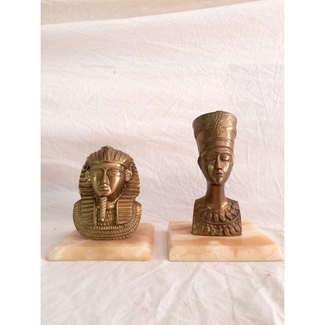 Brass Nefertiti and King Tut Sculptures - A Pair - Image 2 of 6