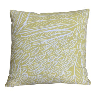 Custom Yellow Feather Pattern Throw Pillow