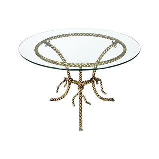 Hollywood Regency Gilt Rope and Glass Top Occasional Table