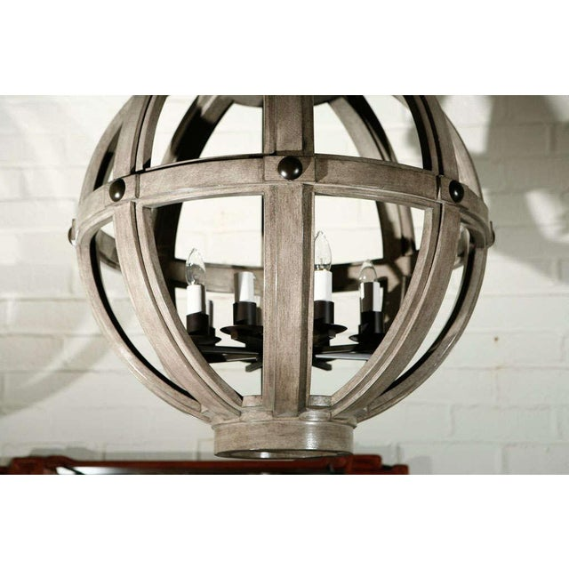Customizable Paul Marra Large Carved Sphere Chandelier - Image 4 of 8