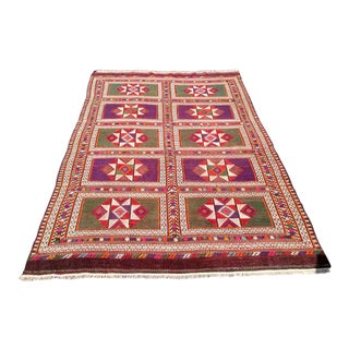 Vintage Turkish Kilim Rug - 5′7″ × 8′9″