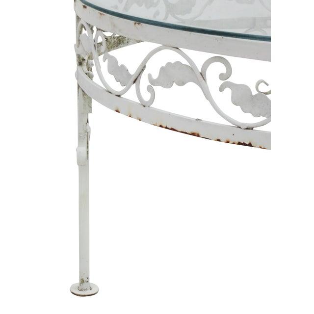 woodard round white iron patio coffee table chairish