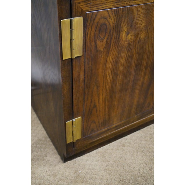 Henredon Campaign Oak Bookcase with Curio Top - Image 9 of 10