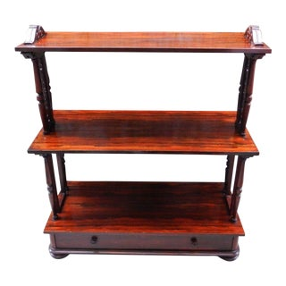 English Regency Rosewood 3 Tier Etagere Library Stand Bookshelf
