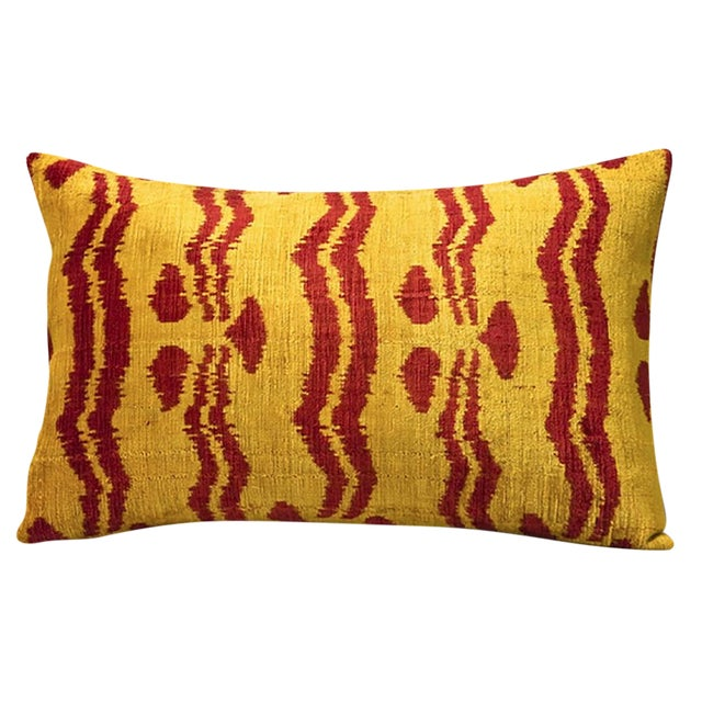 Bhangra Yellow and Red Silk Pillows - A Pair - Image 1 of 3