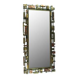 Syroco Paul Evans Style Brutalist Mid-Century Modern Wall Mirror