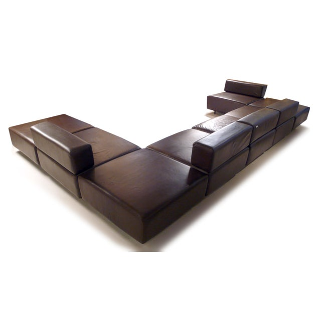 Image of Harvey Probber Chocolate Brown Leather 'Cubo' Sectional Sofa