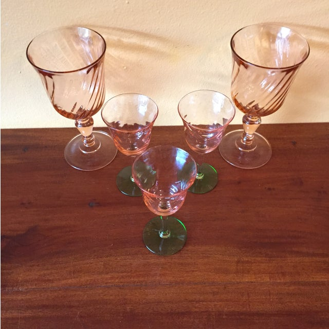 Image of Art Deco Pink Glass Stemware - Set of 5