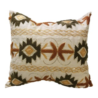 Traditional Ghanaian Embroidered Pillow