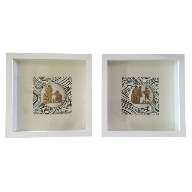 Framed Vintage Greek Ceramic Medallions - a Pair - Image 1 of 5