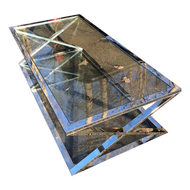 Vintage Milo Baughman Style Chrome Coffee Table - Image 1 of 5